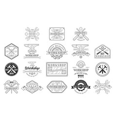 wood workshop black and white emblems classic vector image
