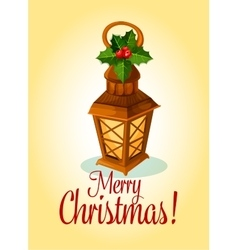 Christmas lantern and red holly berry card design vector image