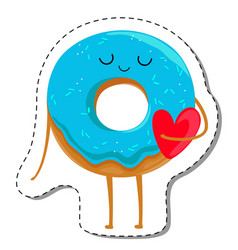 donut cartoon character in love vector image vector image