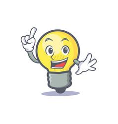 finger light bulb character cartoon vector image vector image