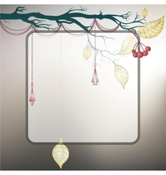 Steel gray background with tree branch and last vector image