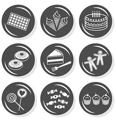 Sweet birthday cake icons vector image