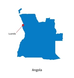 Detailed map of Angola and capital city Luanda vector image vector image