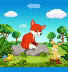 fox in the forest vector image vector image