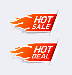 Hot Sale and Hot Deal labels vector image vector image