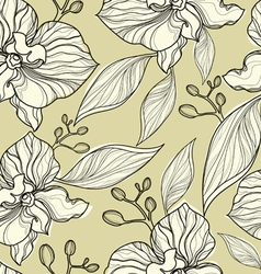 seamless floral orchid vector image