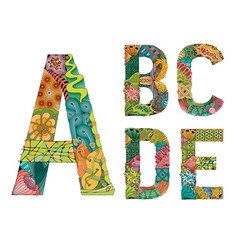 unusual colorfull alphabet doodle style letters on vector image vector image