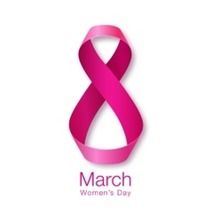 Womens day realistic ribbon march 8 card vector
