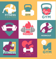 gym and fitness club or workout sport center logo vector image