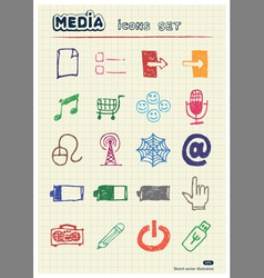 Media and communication web icons set vector image vector image