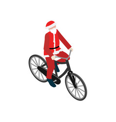 Santa claus on a bike flat 3d isometric vector