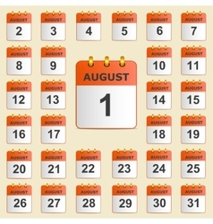 Set of icons for the calendar in August vector image
