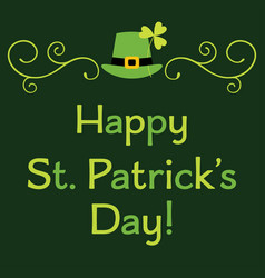 st patricks day greeting card with leprechaun set vector image
