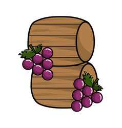 wool barrels wine with grapes fruit vector image vector image
