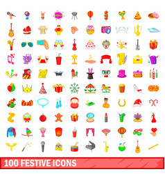 100 festive icons set cartoon style vector image