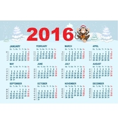 2016 Calendar template Monkey is sitting on snow vector image vector image