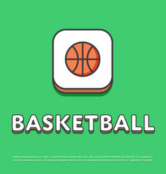 basketball sport colour icon with ball vector image vector image