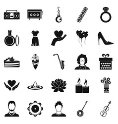 disco icons set simple style vector image
