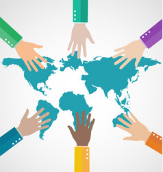 group of business people assembling world map vector image