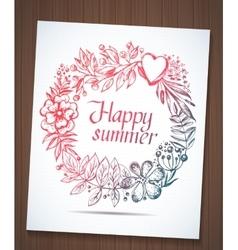 Happy summer wreath vector image
