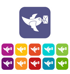 Pigeon fly with mail icons set flat vector