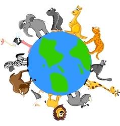 Set of wild animals on globe vector image