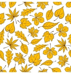 Yellow autumn fallen leaves seamless pattern vector image vector image