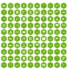 100 construction site icons hexagon green vector image