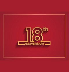 18 anniversary design with simple line style vector