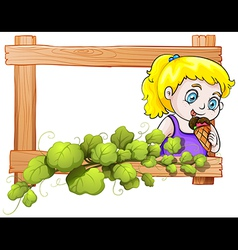 A frame with a young girl eating an icecream vector