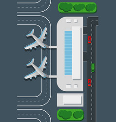 Airport top view landing pad vector