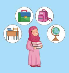Arabic schoolgirl supplies vector