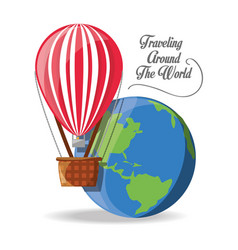 Balloon fly with earth planet vector