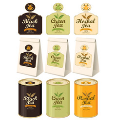Banners labels paper packages and tins of tea vector