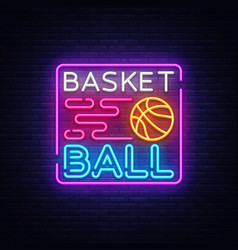 basketball night neon logo basketball neon vector image