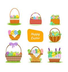 beautiful easter baskets with painted eggs vector image
