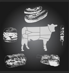 beef food chalkboard drawing set vector image