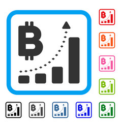 bitcoin bar chart positive trend framed icon vector image