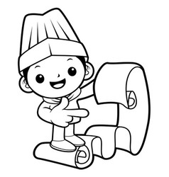 black and white funny cook mascot look at the vector image