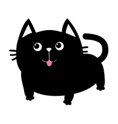 Black cat icon cute funny cartoon smiling vector