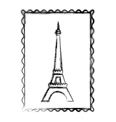 blurred silhouette frame with eiffel tower vector image