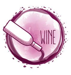 Bottle serving wine round splash vector