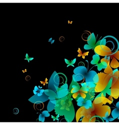 Bright butterflies on a black background vector image