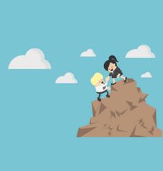 Business woman helping a businessman climb vector