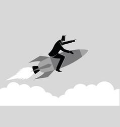 Businessman on a rocket vector