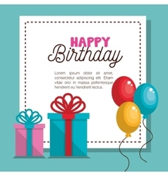 Card gift balloons party birthday graphic vector