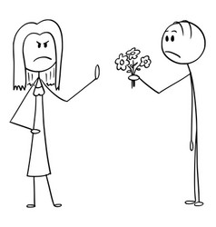 Cartoon angry woman rejecting flowers and love vector