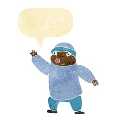 Cartoon man in hat waving with speech bubble vector