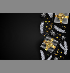 christmas background gift and winter ornaments vector image
