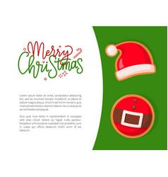 christmas gingerbread santa hat and belt vector image